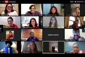 A screenshot of our virtual Women of Color roundtable discussion with Lt. Governor Peggy Flanagan. The image is a grid of smiling participants in the Zoom gallery.