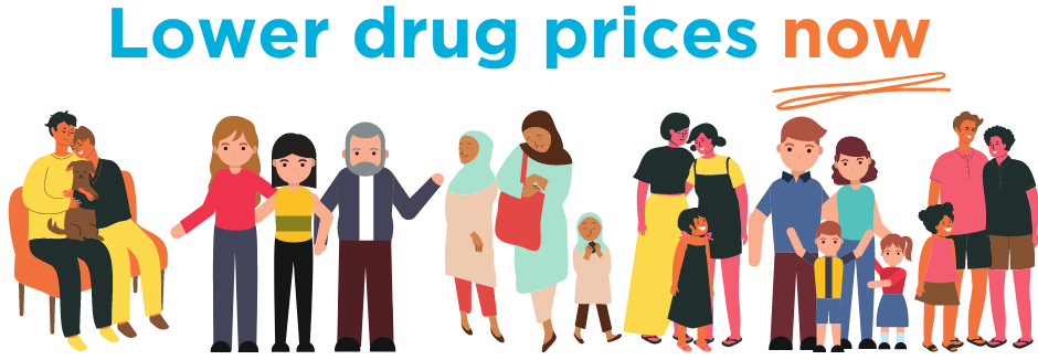 "An illustration of a multiracial, multigenerational group of people with the text ""Lower drug prices now."""