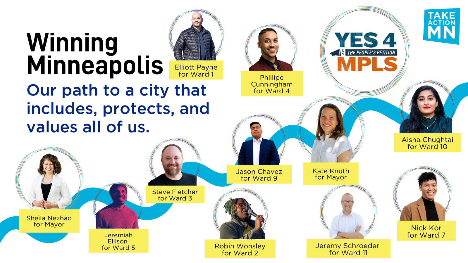 """Blue and yellow on a white background. """"Winning Minneapolis: Our path to a city that includes, protects, and values all of us."""" Includes photos and names of candidates with their wards and the Yes 4 Minneapolis and TakeAction Minnesota logos."""