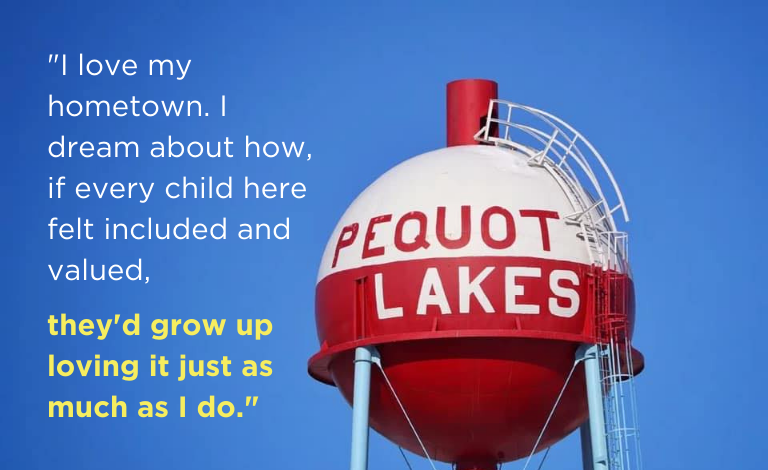 image of Pequot Lakes, MN water tower with quote from blog