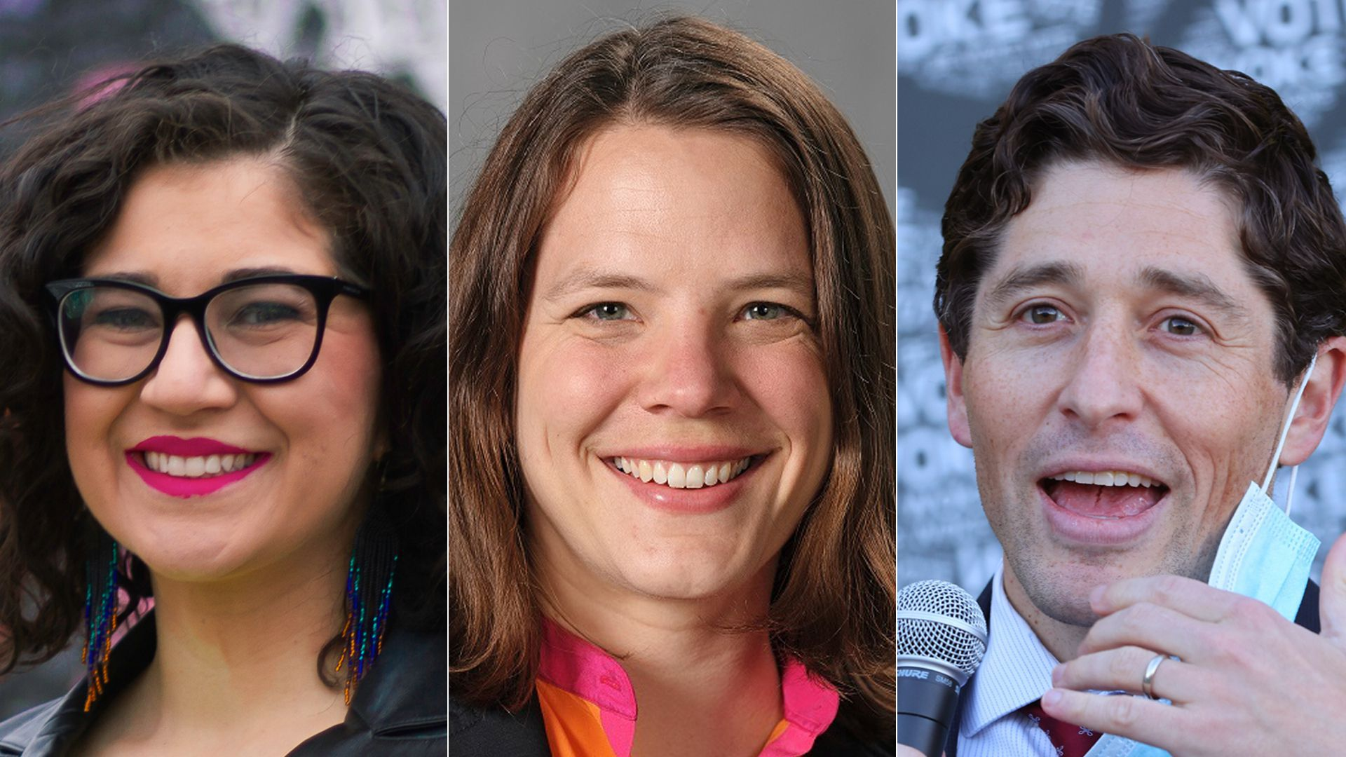 Sheila Nezhad (left) and Kate Knuth (center) are challenging Minneapolis Mayor Jacob Frey. Photos courtesy of Nezhad and Knuth campaigns; Adam Bettcher/Getty Images